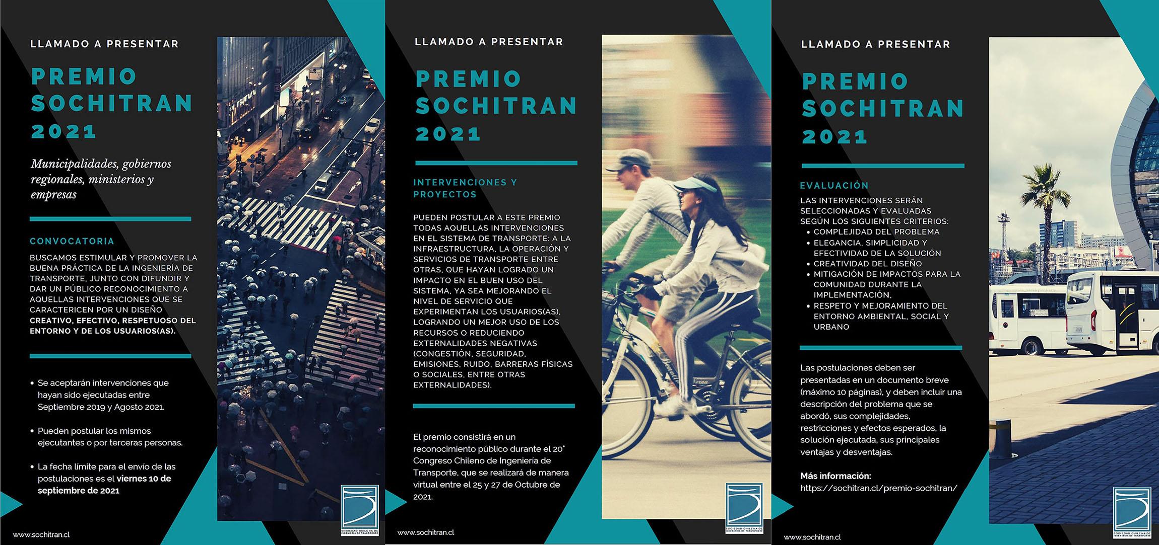 Convocatoria Premio SOCHITRAN 2021, 20° Congreso Chileno de Ingeniería de Transporte